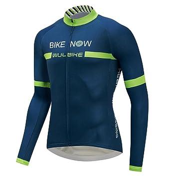 71ccd08b0c0 logas Cycling Jersey Maillot Cyclisme Homme Manches Longues Respirant Tenue  de Velo Bleu