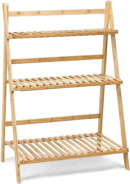 Cypressshop - Estantería Plegable de bambú para macetas, estantería, estantería portátil de Madera, estantería, estantería, 3 estantes, Muebles para ...