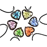 Hot Murano Heart Shaped 3D Flower Gold Dust Glass Pendant Necklace 6PC Mix Color Set