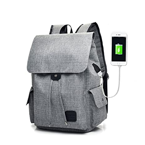 155c230e67c Image Unavailable. Image not available for. Color  Women Men Casual Canvas  Backpack with USB Charging Port ...