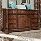 Ashley B70531 Ledelle Dresser with Plywood Drawer Boxes Natural marble Parquetry Top and English Dovetail Drawer Construction in Dark