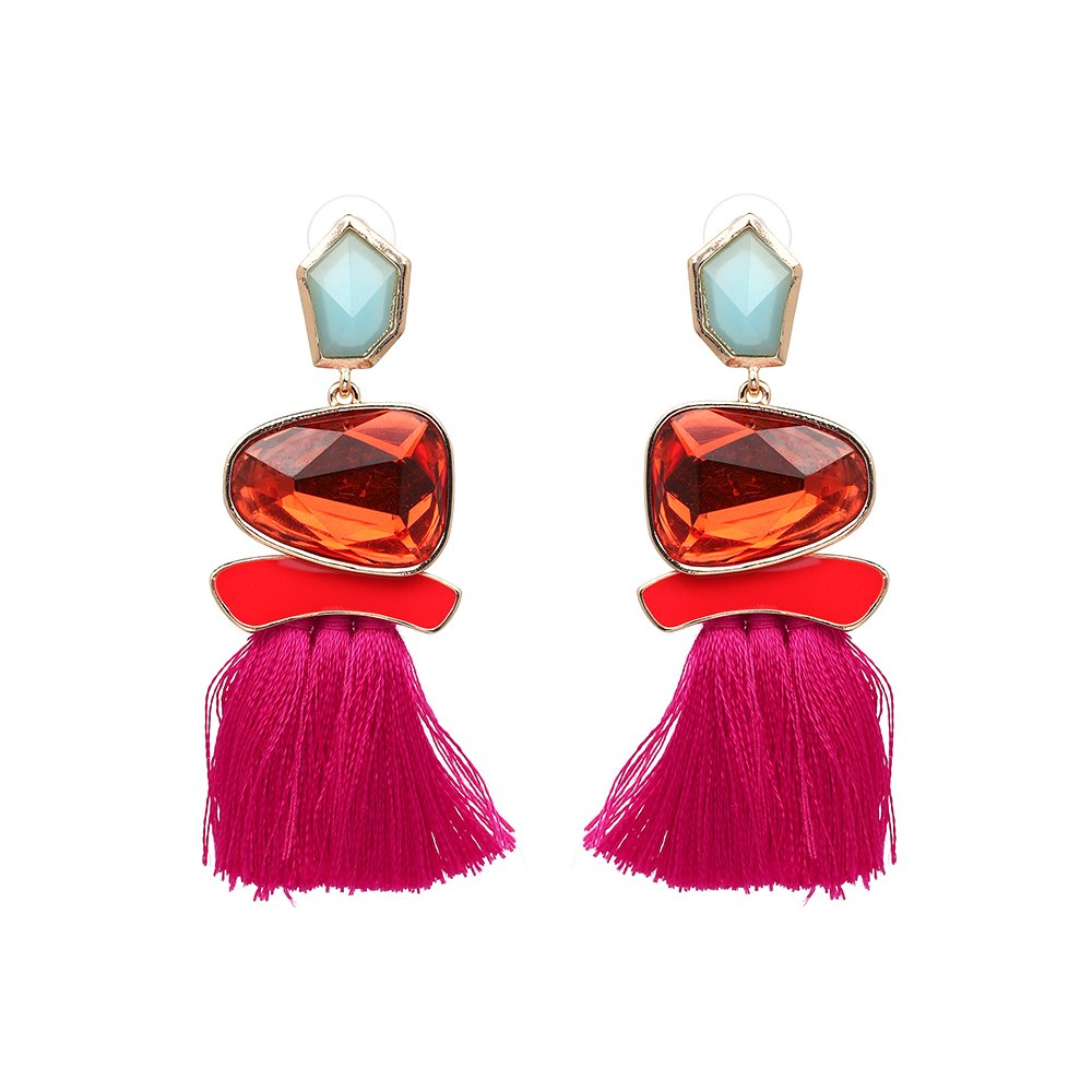 Hot Pink Earrings - Tassel Statement Dangles - Mall of Style (Hot Pink)