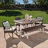 Louise Outdoor 6 Piece Multibrown Wicker Dining Set with Dark Brown Sandblast Finish Acacia Wood Table and Bench and Crème Water Resistant Cushions
