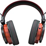 Wireless Headphones Over Ear Foldable Genuine Wood Bluetooth Headset Soft Memory-Protein Earmuffs with Built-in Mic and Wired Mode Phone Control for Computer Headset/Cell Phone Headset(Rose Wood)