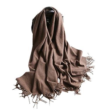476bfb4e5b51 iShine Echarpe Longue Foulard Cachemire Châle Unisexe Laine Epais Chaud  Cache-nez Unicolore avec Frange