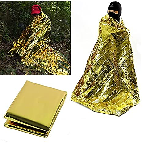 Brussels08 Waterproof First Aid Emergency Thermal Outdoor Survival Foil Blanket Camping Mat for Camping, Outdoors, Hiking, Adventure Adventure (Gold)