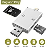 SD/TF Card Reader, 4 in 1 Card Reader with Micro USB/Type-C/Lightning/USB 3.0 for indows XP, Vista, Mac OS 9.X or later, Linux 2.4.X iOS 8 or later,APP Needed for iOS Devices (white)