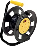 Designers Edge E230 Extension Cord Storage Reel, Multi-Outlet Adapter, Black/Yellow