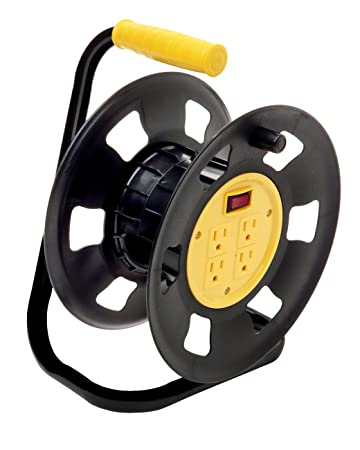 Designers Edge E230 Retractable Extension Cord Storage Reel, Multi-Outlet  Adapter, Black/