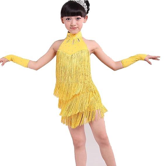 eb181cb4bed Hougood Filles Latine Robe de Danse Costume Enfants Tango Rumba Samba  Dansant Vêtements Gland Diamond Dance Wear  Amazon.fr  Sports et Loisirs