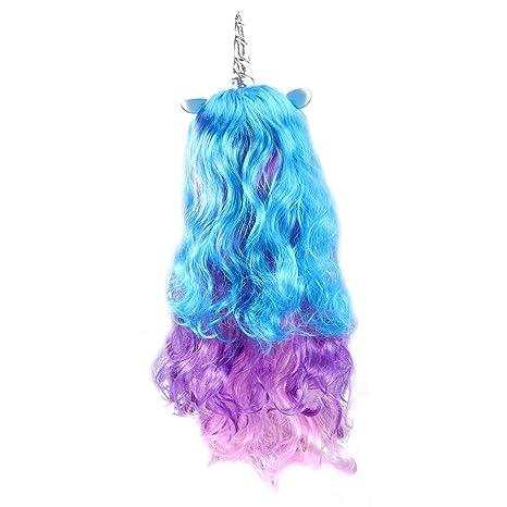 Peluca de pelo largo rizado de unicornio para disfraz, fiesta de Halloween, peluca completa