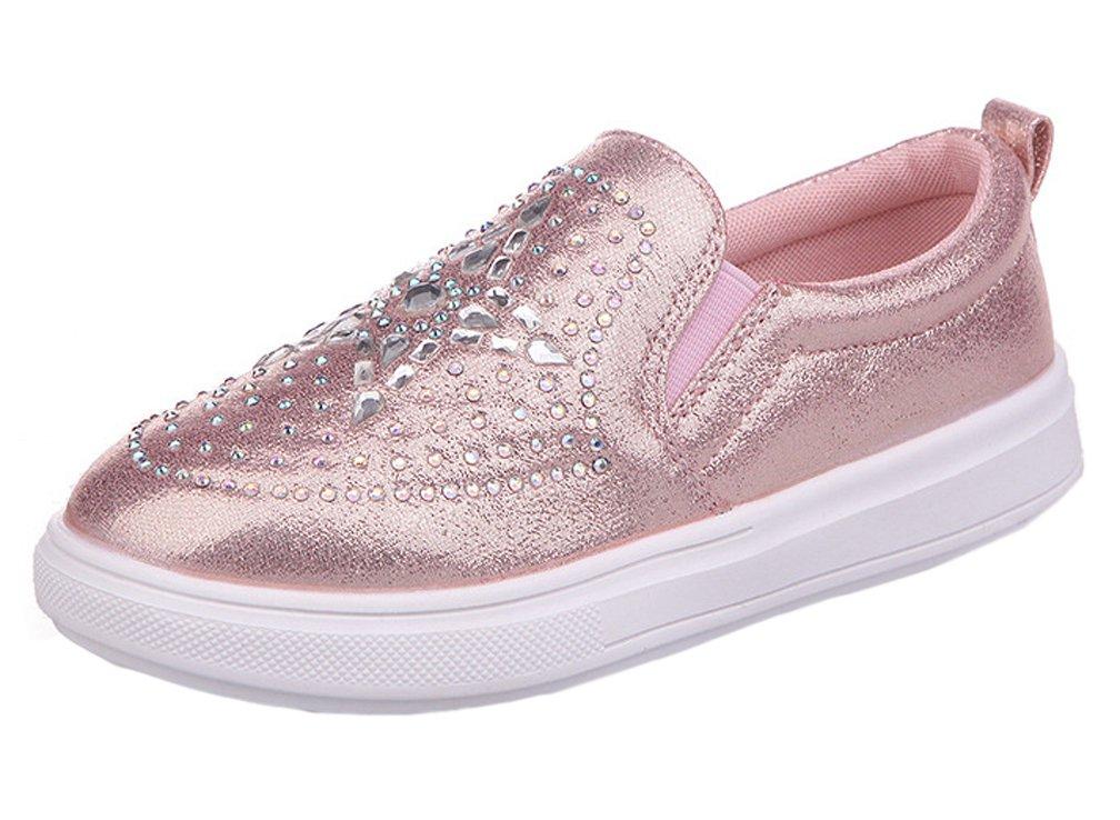 iDuoDuo Girls Soft Leather Rhinestones Low Top Princess Dress Leisure Loafers Flats Pink 2.5 M US Little Kid