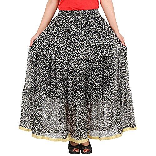 Black Cotton Printed Skirt Handicrfats Elegant Indian Export wt7T4U