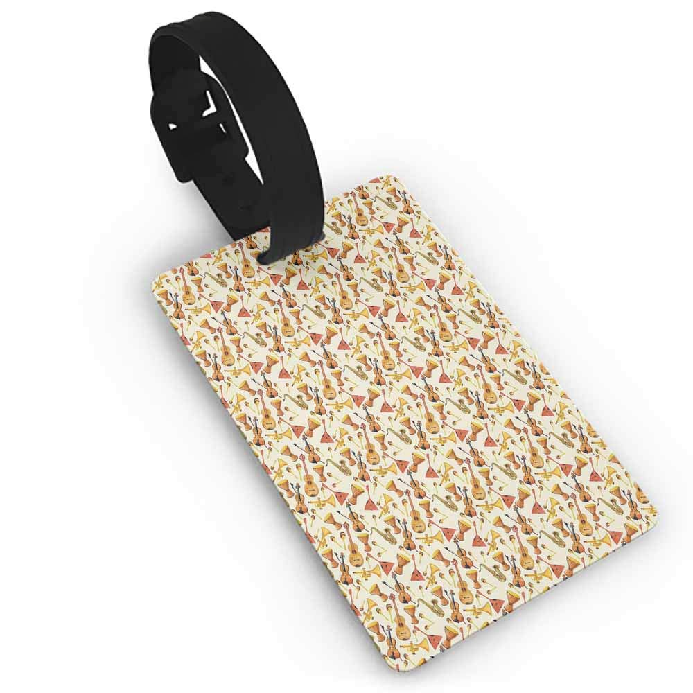 Luggage Tags with Privacy Cover,Jazz Music,Winged Saxophones Music and Freedom Themed Conceptual Sketch Art Creativity,Portable Label Beige Yellow