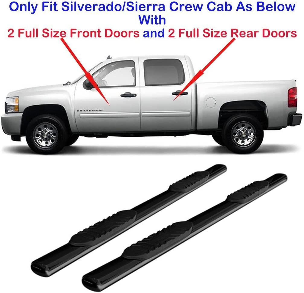 """Fits 2007-2018 Chevy Silverado Extended Cab Black 4/"""" Oval Curved Running Boards"""