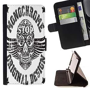 Skull Market - FOR HTC One M8 - when I need you - Caja de la carpeta del tir¨®n del cuero de la PU [con ranuras para tarjetas y cierre de solapa magn¨¦tica] P¨¢rese cubierta de la caja