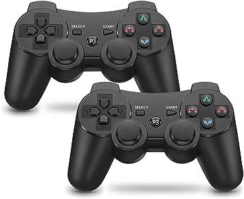 Comprar Mando PS3 inalámbrico Bluetooth Gamepad Doble Vibración Six-Axis Mando a Distancia Joystick para Playstation 3 con Cable USB (2 negros)