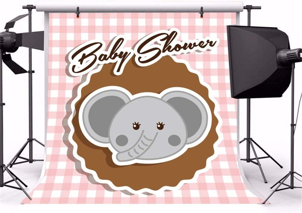10x10ft Cartoon Cute Calf Elephant Baby Shower Backdrop Vinyl Little Elephant Face On The Brown Carpet Pink Checked Cloth Illustration Background Baby Shower Party Banner Child Baby Shoot