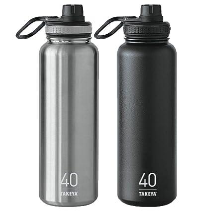 18b8c4ecb3 Amazon.com: Takeya ThermoFlask 2 Pack 40 oz Steel and Asphalt: Home &  Kitchen