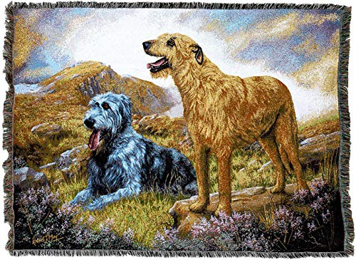(Pure Country Weavers - Irish Wolfhound Woven Tapestry Blanket with Fringe Cotton USA 72x54)