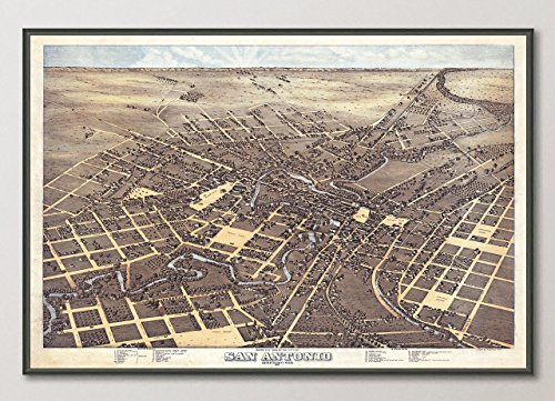Map Historical Reproductions (Vintage San Antonio Texas Birds Eye View Map Reproduction ART PRINT from 1873, UNFRAMED, Wall art decor poster sign, All Sizes)