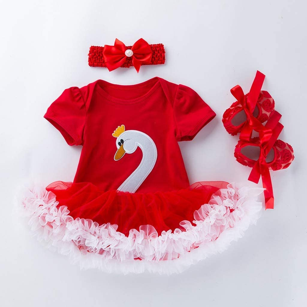 WOCACHI Toddler Baby Girl Dresses 3PCS Toddler Baby Girls Cartoon Swan Princess Dress+Headbands+Shoes Set Outfit