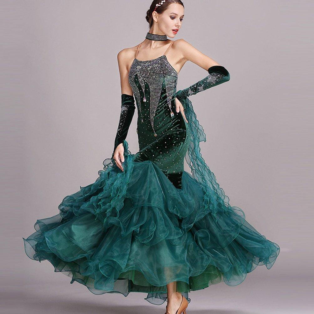 Ballsaal Tanzkleider für Damen Leistung Leistung Leistung Ärmellos Walzer Modern Dance Kostüm Wettbewerb Tanzbekleidung mit Strass B07KDBTCGG Bekleidung Günstigen Preis f60947