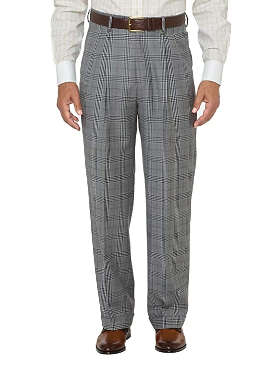 Men's Vintage Pants, Trousers, Jeans, Overalls Paul Fredrick Mens Wool Glen Plaid Pleated Suit Pants $149.50 AT vintagedancer.com
