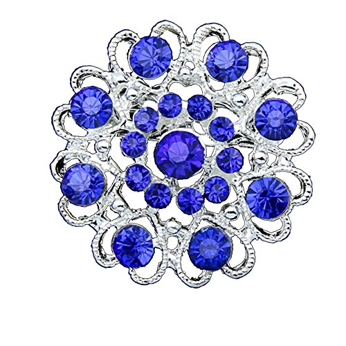 SANWOOD Rhinestone Crystal Brooch Hollow Out Collar broach Pin Silver Plated Flower breastpin Jewelry Gift (Sapphire Blue) (Brooch Plated Blue)