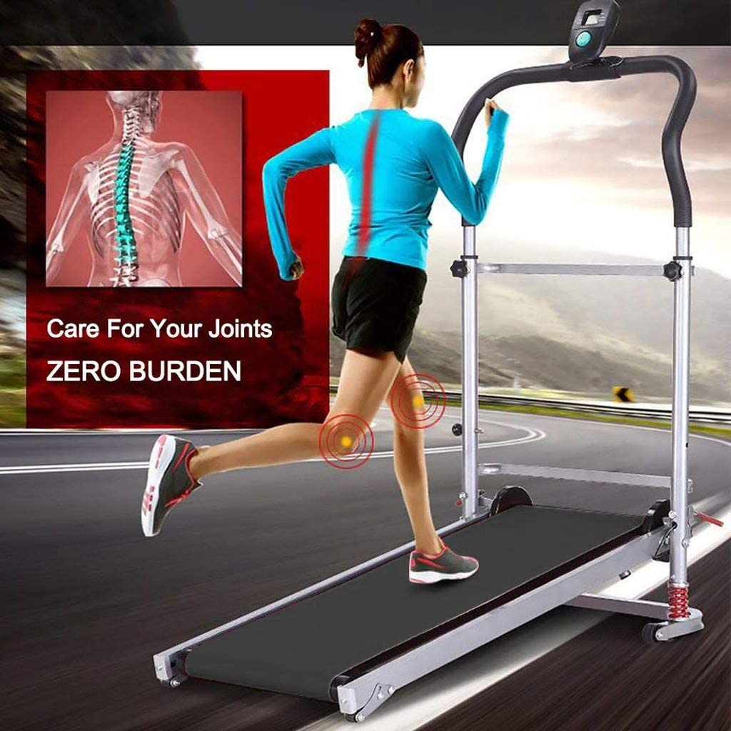 Shock-Absorbing Folding Manual Treadmill Work Machine Fitness Exercise Home