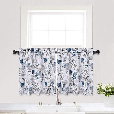 Amazon Com Haperlare Blue Kitchen Curtains Floral Print Short Bathroom Window Curtain Watercolor Flowers Design Rod Pocket Half Cafe 27 X 24 Grey Set Of 2 Dining