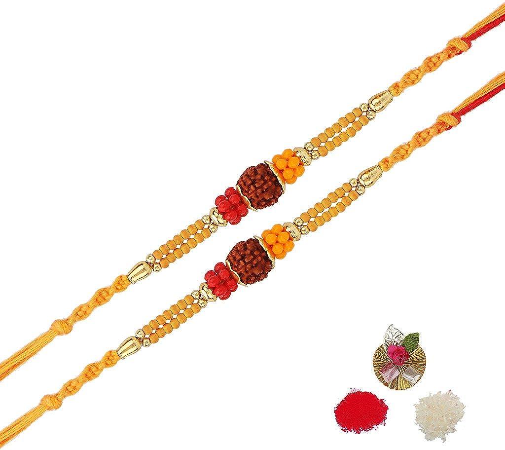 0f24e88b936c5 Asthetika Brown Sandalwood Rudraksh Rakhi For Men - Set Of 2: Amazon.in:  Jewellery