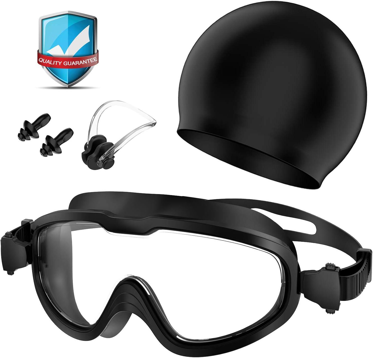 Gafas de Natación, Profesional Anti Niebla Sin Fugas Protección UV Marco grande Gafas Natación con Libre Clip de Nariz Enchufe de oído Gorro de baño para Hombres Mujeres Adultos Niños de la Juventud
