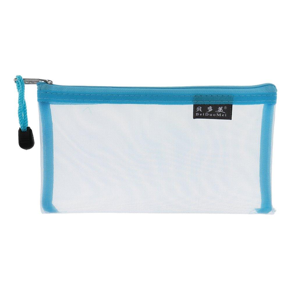 Transparent Mesh Organiser Bag Portable Travel Storage Pen Pouch Colorful - Blue