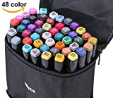 Zongii 48 Colors Highlighters Markers Pen - Dual Tip Art Sketch Twin Permanent Marker with Carrying Case - Ideal For Drawing Coloring Highlighting and Underlining- Suitable For Kids And Adults