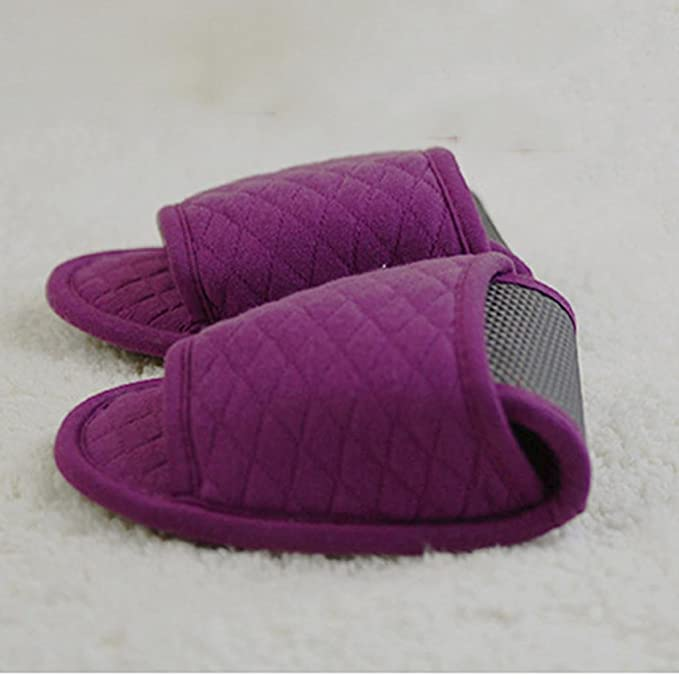 Portable Falten Pantoffeln Baumwolle Nicht Einmal Hausschuhe Luftfahrt Flugzeug mit Gastfreundschaft Hausschuhe 2 Paare , purple