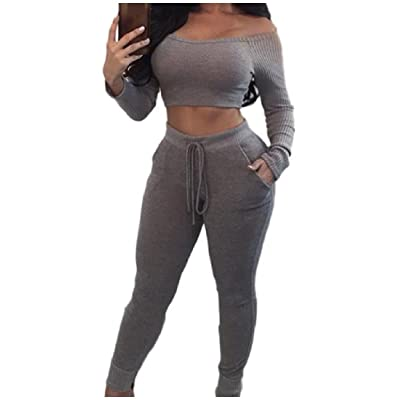 Abetteric Womens Stylish Sexy Bodycon Crop Cold Shoulder 2 Pieces Jumpsuits