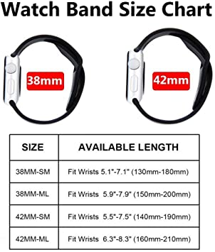 YC YANCH Compatible for Apple Watch Band 38mm 42mm 40mm 44mm, Soft Silicone Sport Band Replacement Wrist Strap Compatible for iWatch Series 4, Series 3/2/1, Nike+,Sport,Edition, S/M M/L Size