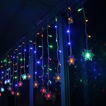 Weihnachtsdeko Lichter Innen.Lianqi Rgb Led Schneeflocke Lichterketten Vorhang Lichter Mit 8 Modi Weihnachtsbeleuchtung Für Innen Außen Weihnachtsdeko Deko