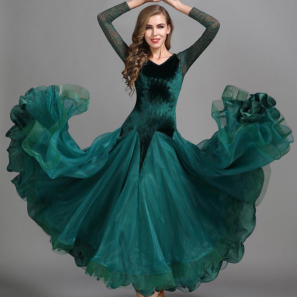 ファッションなデザイン 現代の女性大きな振り子ベルベットモダンダンスドレスタンゴとワルツダンスドレスダンスコンペティションスカート長袖レースダンスコスチューム B07HHX177G Small|Green Small Small|Green Green Green Small, ズシシ:0ed98fbf --- a0267596.xsph.ru