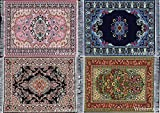 Set of 4 Beautiful Oriental Woven Rug Mouse Pads - Oriental Turkish Design Carpet Mousemats Miniature Mats