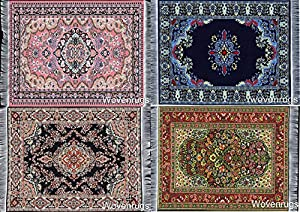 Set Of 4 Beautiful Oriental Woven Rug Mouse Pads   Oriental Turkish Design  Carpet Mousemats Miniature Mats