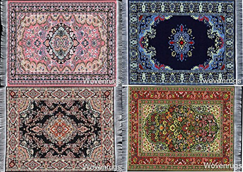 Set of 4 Beautiful Oriental Woven Rug Mouse Pads - Oriental Turkish Design Carpet Mousemats Miniature (Turkey Size For 4 Adults)