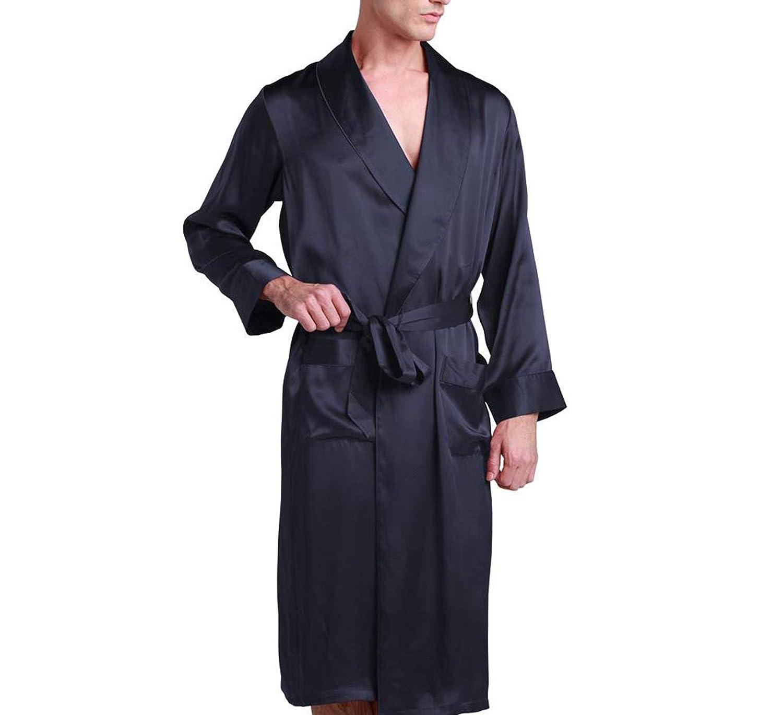 Navy bluee Phillip Dudley Sleepwear Kimono Men Pure Silk Luxury Natural Long Length Lapel Collar Men