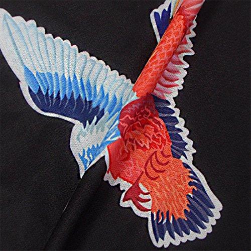 QIYUN.Z Las Muchachas De La Mujer Caen El Paquete Del Invierno El Águila Floral De La Cadera Imprimió El Vestido Del Bodycon