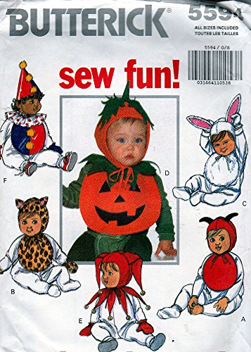 Infants Costume Sewing Pattern Pumpkin, Clown, Cat, Jester, Rabbit Butterick 5594 -