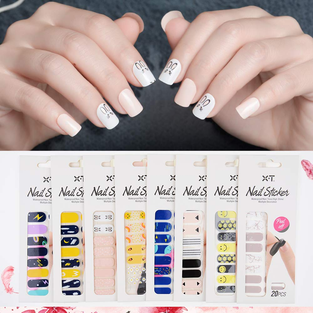 X.T 8 Sheets Nail Art Sticker Romance of Girls Design to Decorate Nails,DIY Manicure Nail Sticker Nail Polish Strips Wraps for Wedding,Party,Birthday,Girls Night Out