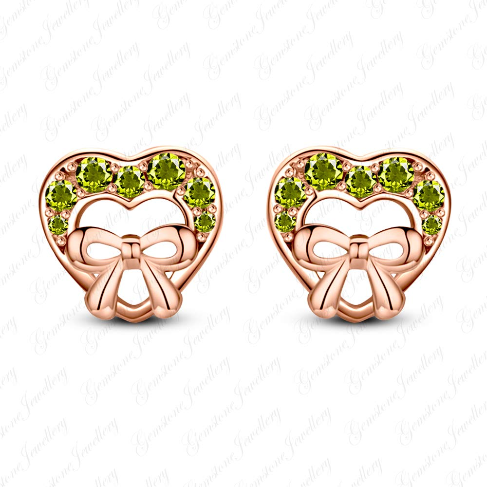 Gemstone Jewellery Brilliant Peridot 925 Silver 14k Rose Gold Over Heart Minnie Mouse Stud Earrings