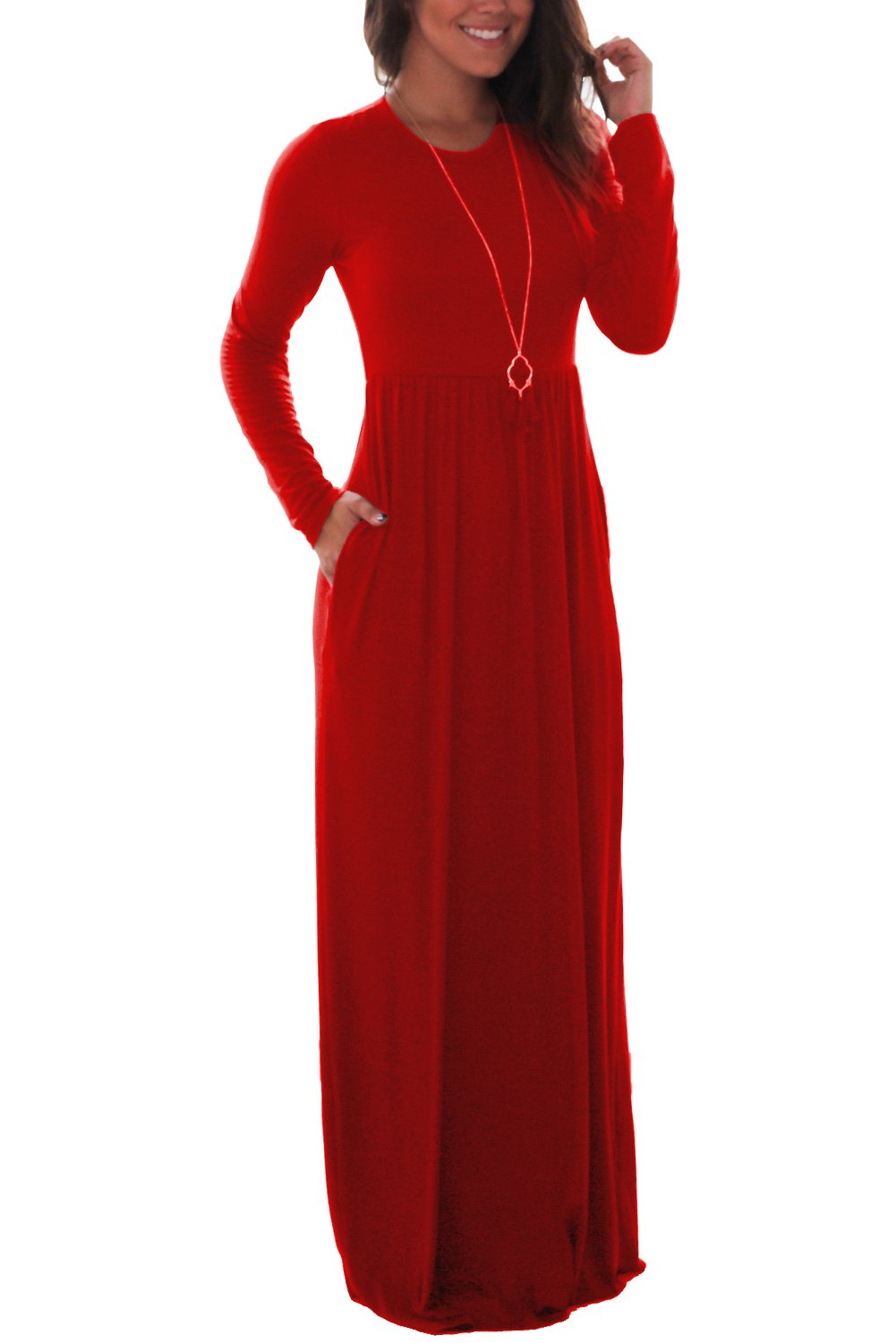 Women\'s Casual Long Maxi Dresses with Long Sleeves Red Small