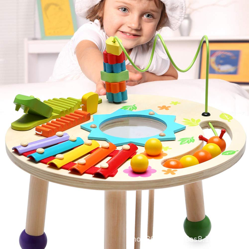 MG.QING Knock Piano Music Table Baby Multi-Function Game Table Baby Puzzle Early Education Wooden by MG.QING